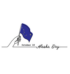 alaska day simple web banner with flag and hand vector image