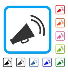 Announce horn framed icon vector