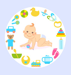 Baplaying with toys and crawling smiling kid vector