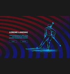 biathlon girl linear silhouette skiing vector image