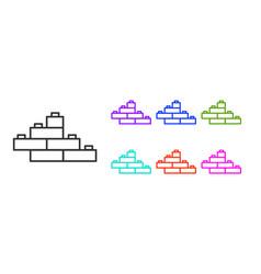 Black line toy building block bricks for children vector