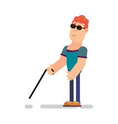 Blind man with wand vector