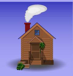 building of wooden sauna vector image