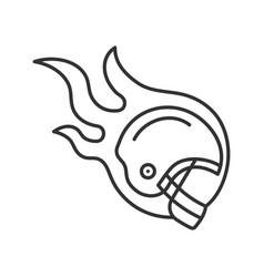burning rugplayers helmet linear icon vector image
