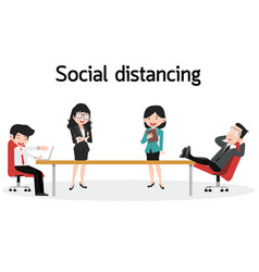 Business office employees with social distancing vector
