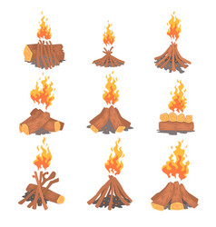 cartoon bonfires set types of tourist tcampfires vector image