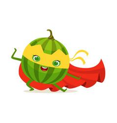 Cartoon character of superhero watermelon in vector