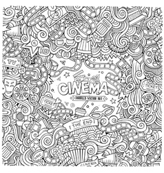 Cartoon hand-drawn Cinema Doodle frame vector image