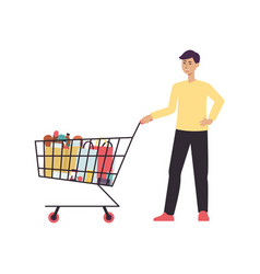 cartoon man standing with shopping cart full of vector image
