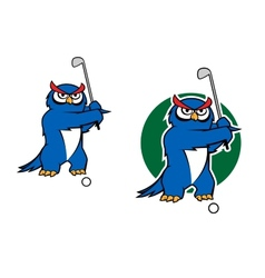 Cartoon owl mascot playing golf vector image