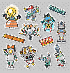 cartoon robots and mechanic machines doodle vector image