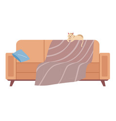 cat lies on back sofa soft couch vector image
