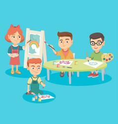 caucasian children drawing at preschool class vector image