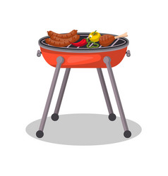 charcoal barbecue grill with food isolated icon vector image