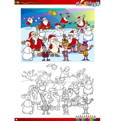 christmas group coloring page vector image