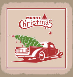 christmas truck color image old card vector image