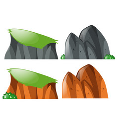 cliff and rocks on white background vector image