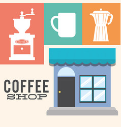 Coffee shop detailed facade poster vector