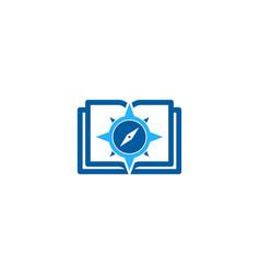 Compass book logo icon design vector