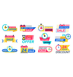 countdown badges sale timer promo stickers vector image
