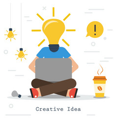 creative business idea - man with lamp head vector image