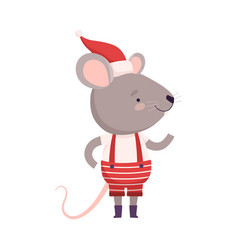Cute mouse dressed up in christmas santa claus vector