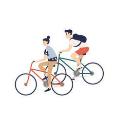 cute romantic couple riding bicycles young man vector image