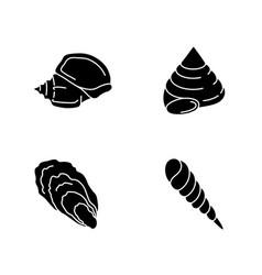 Different seashells black glyph icons set vector