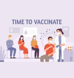 doctor vaccinate people patient gets vaccine shot vector image