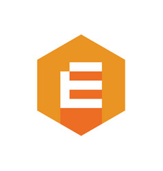 e logo orange color hexagon icon flat design vector image