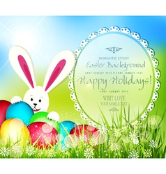 easter background with frame for text rabbit and e vector image
