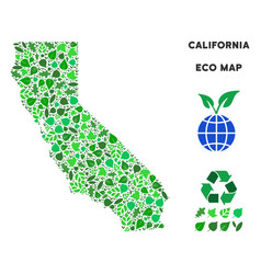 eco green collage california map vector image