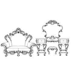 exquisite fabulous imperial baroque furniture and vector image