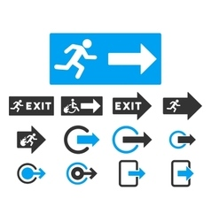 Fire Exit Flat Icon Set vector image