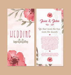 Floral wedding invitation card watercolor vector