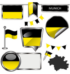 Glossy icons with flag of munich germany vector