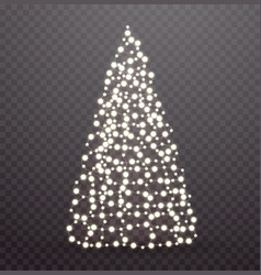 glowing christmas tree made of lights and garlands vector image