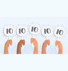 Group raised human hands holding score cards vector