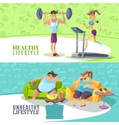 Healthy And Unhealthy People Horizontal Banners vector