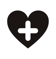 Heart and cross icon vector