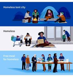 Homeless People Horizontal Banners vector