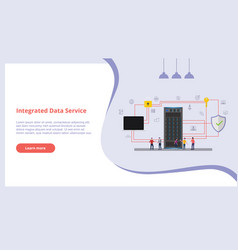 integrated data service concept with people for vector image