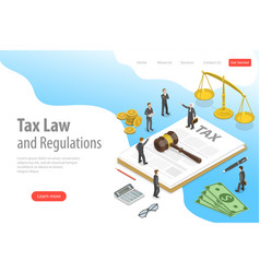 isometric flat landing page template tax vector image