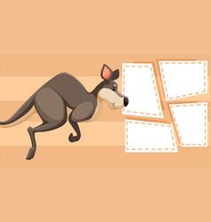 kangaroo on note template vector image