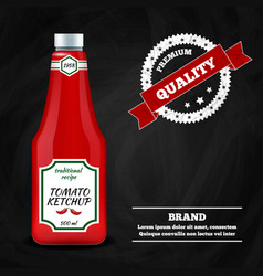 ketchup sauce realistic advertisement composition vector image