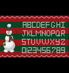 knit new year and christmas alphabet with snowman vector image