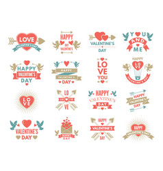 labels and symbols of loves st valentine day vector image