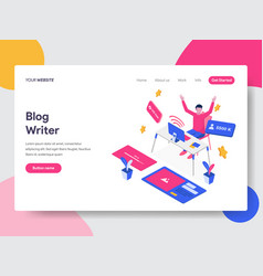 Landing page template of blog writer concept vector