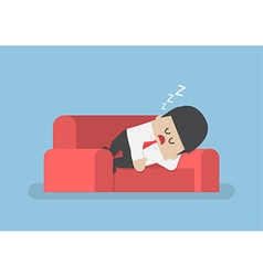 Lazy businessman sleeping on the couch vector image