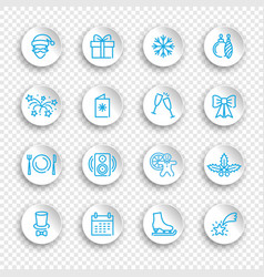linear icons new year and christmas holidays vector image